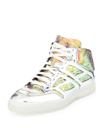 Iridescent Croc Print High Top Sneaker Silver Alejandro Ingelmo