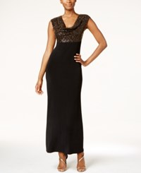 Connected Petite Sequined Metallic Cowl Neck Gown Gold