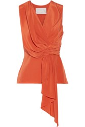 Jason Wu Draped Silk Crepe De Chine Top Bright Orange