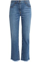 Theory Frayed Bootcut Jeans Mid Denim