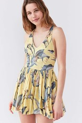 Kimchi And Blue Printed Halter Romper Yellow