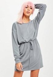 Missguided Grey Long Sleeve Tie Waist Sweater Dress