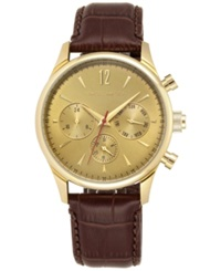 Vince Camuto Men's Chocolate Brown Croc Embossed Leather Strap Watch 42Mm Vc 1078Gdgp