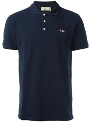 Maison Kitsune Embroidered Logo Polo Shirt Blue