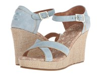 Toms Wedding Wedge Light Blue Suede Gold Women's Wedge Shoes