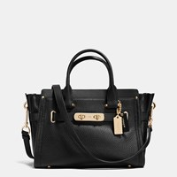 Coach Swagger 27 In Pebble Leather Light Gold Black
