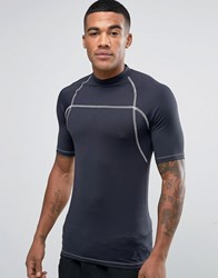 Asos Rash Vest With Uv Protection In Black With Rubber Triangle Patch Black