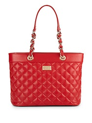 St. John Quilted Leather Tote Bag Red