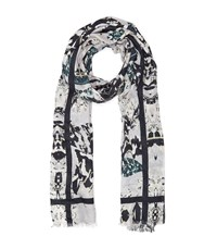 Reiss Miller Patterned Scarf In Cream