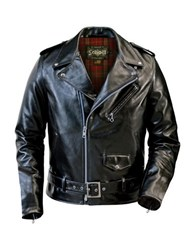 Schott Fitted Waxy Cowhide Motorcycle Jacket Black