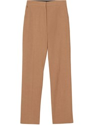 Burberry Cotton Linen Tailored Trousers Brown