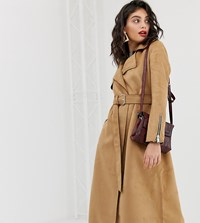 River Island Suedette Trench Coat With Belt In Camel Beige
