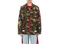 Off White Men's Embellished Camouflage Cotton Field Jacket Green No Color