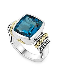 Lagos 18K Gold And Sterling Silver Caviar Color Bezel Ring With London Blue Topaz Blue Silver