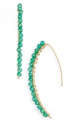 Women's Sonyarenee 'Brynn' Semiprecious Stone Threader Earrings Green Onyx