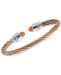 Charriol Fabulous Orange Moonstone Two Tone Pvd Stainless Steel Cable Bangle Bracelet Two Tone