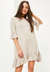 Missguided Grey Frill Hem And Sleeve Swing Dress Stone