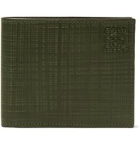 Loewe Embossed Cross Grain Leather Billfold Wallet Dark Green