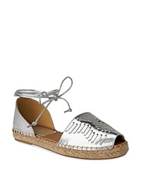 Whistles Syon Woven Ankle Tie Espadrille Flats Silver