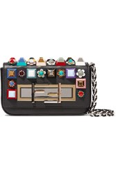Fendi Baguette Mini Embellished Leather Shoulder Bag Black