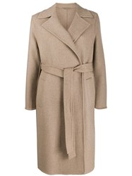 Closed Belted Straight Coat Neutrals