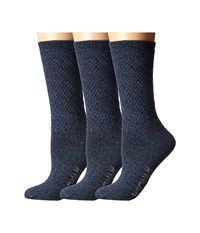 Wigwam Silky Crew 3 Pack Navy Blue Women's Crew Cut Socks Shoes Multi