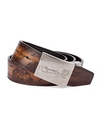 Berluti Scritto Leather Belt Black Brown Blkbrn