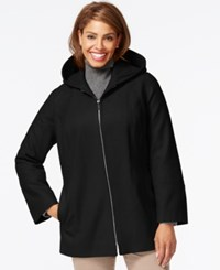 London Fog Plus Size Hooded Zipper Front Coat Black