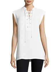 Michael Kors Lace Up Cap Sleeve Top White