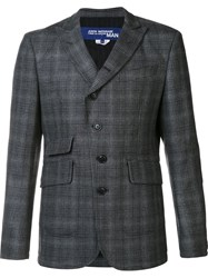 Comme Des Garcons Junya Watanabe Peaked Lapel Checked Blazer Grey