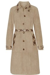 Michael Kors Collection Belted Snake Effect Trimmed Suede Coat Sand