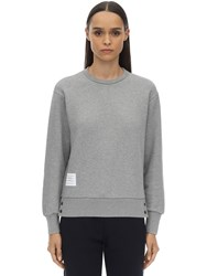 Thom Browne Cotton Crewneck Sweater W Back Stripes Light Grey