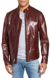 Schott Nyc Cafe Racer Waxy Cowhide Leather Jacket Black Cherry