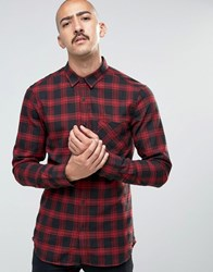 Pull And Bear Pullandbear Checked Shirt In Black Red In Regular Fit Red