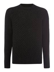 Howick Men's Copper Cable High Crew Neck Jumper Pine
