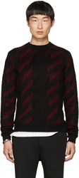 Saint Laurent Black And Red Striped Crewneck Sweater