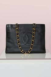 Nasty Gal Vintage Chanel Black Leather Tote