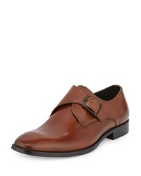 Kenneth Cole 1 Way Ticket Monk Strap Leather Loafer Cognac Red