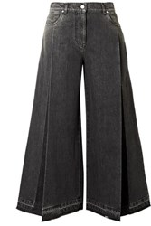 Valentino The Rockstud Cropped Pleated Wide Leg Jeans Black