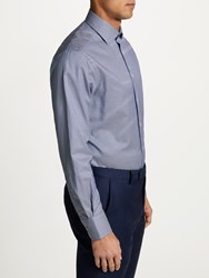 Smyth And Gibson Non Iron Twill Houndstooth Contemporary Fit Shirt Navy