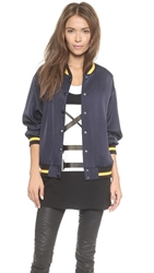 Dkny X Cara Delevingne Satin Varsity Jacket Navy Traffic