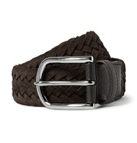 Tod's 3.5Cm Brown Woven Suede And Cross Grain Leather Belt