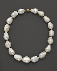 Bloomingdale's 14K Yellow Gold Baroque Freshwater Pearl Necklace 17 Yellow Gold White Pearl