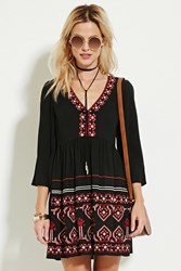 Forever 21 Embroidered V Neck Peasant Dress Black Red