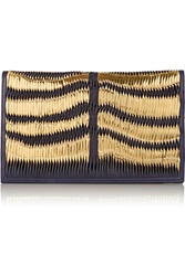 Balmain Woven Patent And Smooth Leather Clutch Blue