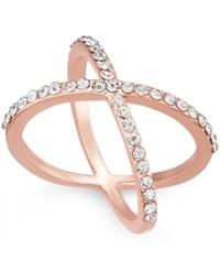 Inc International Concepts Rose Gold Tone Criss Cross Rhinestone Ring Only At Macy's