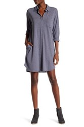 Allen Allen Stripe 3 4 Length Sleeve Shirt Dress Gray