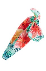 Cara Women's Hibiscus Print Head Wrap Blue Green Teal Multi