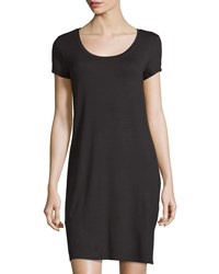 Three Dots Short Sleeve Scoop Neck Tee Dress Black