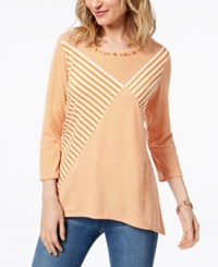 Alfred Dunner Still My Sunshine Beaded Top Apricot